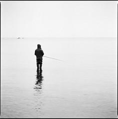 *** (Ordinary Extraordinary World) Tags: 6x6 400 analog bnw bronicasqai bw film format ilford ilfotec medium mediumformat mf monochrome square zenzanonps hp5 sea seaside fisherman