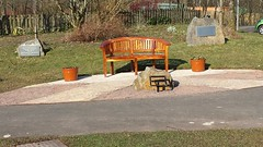Bench and Memorials. (aitch tee) Tags: memorial parcbrynbach outdoors wales