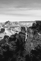 views of vishnu (almostsummersky) Tags: yakipoint rock rockformation winter overlook canyon nationalpark midday viewpoint blackwhite haze shadows outcropping vishnutemple horizon southrim northrim monochromatic grandcanyonnationalpark sky arizona grandcanyon edge cliff sunlight