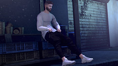 Lonly Night ♥ (coconut110) Tags: avatar mesh bento parker backdrop pose virtual world secondlife second life event shopping male men boy guy versov stealthic m night new release mancave man cave blog blogging blogger wordpress sweater pants shoes sneakers