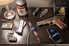 Whats on your nightstand (S.Dobbins) Tags: nightstand loadout gear iphone apple watch trayvax glock keychain serto tolerance zt0770cf elzetta alpha jim beam candle ria 1911