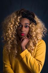 Yellow (kjocalliste) Tags: studio lighting kit muslin backdrop portrait portraiture black color basement makeshift fashion headshot nyc new york street style brooklyn model models nikon d750 24120 f4 yongnuo flash editing yellow red women woman hair