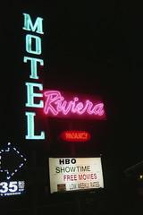 Riviera Motel. Anaheim, CA. (lammyracer) Tags: minoltax700 filmatnight 35mmfilm neononfilm neon motel riviera anaheim agfa vistaplus