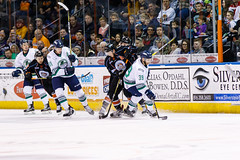 """Kansas City Mavericks vs. Florida Everblades, February 18, 2018, Silverstein Eye Centers Arena, Independence, Missouri.  Photo: © John Howe / Howe Creative Photography, all rights reserved 2018 • <a style=""""font-size:0.8em;"""" href=""""http://www.flickr.com/photos/134016632@N02/38577426220/"""" target=""""_blank"""">View on Flickr</a>"""