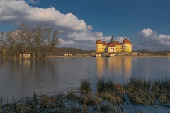 Winter im Schloß von Aschenputtel - Wintertime at the castle of cinderella (ralfkai41) Tags: ngc castle architektur landscape winter see himmel aschenputtel lake natur architecture historical sky eis reflection landschaft historisch saxony moritzburg sachsen reflektion wolken schlos ice