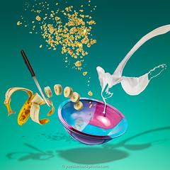 Petit déjeuner flyé (Yves Kéroack) Tags: déjeuner flyingfood ceramics bowl banane breakfast splash knife cereals granola céréales colorful midair aqua coloré bol lait céramique couteau nourriture food milk lévitation banana