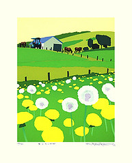 Dandelion (Japanese Flower and Bird Art) Tags: flower dandelion taraxacum asteraceae hideyuki fujikura modern screenprint print japan japanese art readercollection