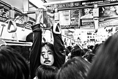 Just hanging around a bit..... (Victor Borst) Tags: street streetphotography streetlife reallife real realpeople asia asian asians faces fa face candid travel travelling trip traveling urban urbanroots urbanjungle metro subway yamanote japan japanese tokyo blackandwhite bw mono monotone monochrome people portrait streetportrait busy city cityscape citylife