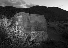 Foundation (dwblakey) Tags: california ghosttown owensvalley blackandwhite desert easternsierra bishop mining tungstenhills outdoors outside monochrome junk clouds unitedstates us