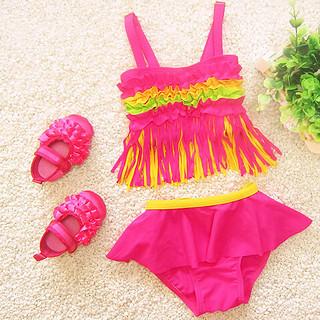 New 2017 Girls Swimwear Ruffle Tassel Bikini Sets Children Swimming Costume