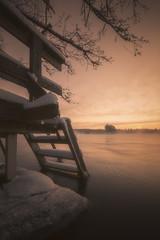104 (petrisalonen) Tags: sunset finland nature sun sunlight light yellow orange water river vuoksi winter cold frozen freezing mist fog canon sunshine sky landscape landschaft