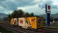 Forward to Denmark. ([johannes]) Tags: ets2 euro truck simulator 2 express exceptionnel road way tuning trailer transport trucks transit thermo trucking ristimaa yellow style lkw lastkraftwagen look low lights sky super scania skin stiholt convoi customs parts
