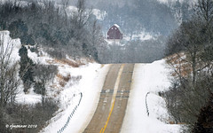 Winter Road_182014 (rjmonner) Tags: barn redbarn iowa jacksoncounty rural hilly rugged dropoff undulating steep snow winter farmstead pavement slope abrupt easterniowa guardrail centerline farm farming agriculture rustic seasonal midwest cornbelt usa backcountry isolated outlying remote apart