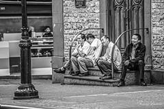 Small Break Outside of the Church (Mario Rasso) Tags: mariorasso nikon newyork chinatown manhattan usa blackandwhite group cook street urban d810