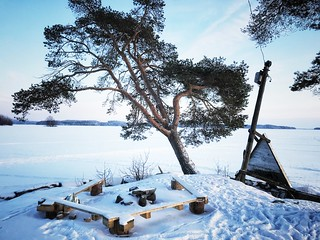lonely fireplace in winter wonderland - Kuopio SUOMI/FINLAND
