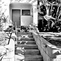 ( She lived upstairs and loved to play her time travel game ) (Wandering Dom) Tags: vintage california architecture 1950s up stairs geometry sunlight shadows time life reality dreams existence being nothingness urban house living earth multiverse roam wandering