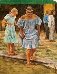 Little Dipper, 14x11 pastel #figurative#pastel #realism#young girls#festival#dresses#pond dipping#art#arte (benjaminkelley1) Tags: figurative dresses pond realism arte art young pastel festival