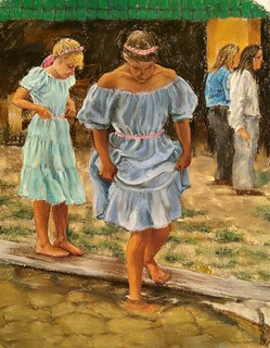 Little Dipper, 14x11 pastel #figurative#pastel #realism#young girls#festival#dresses#pond dipping#art#arte