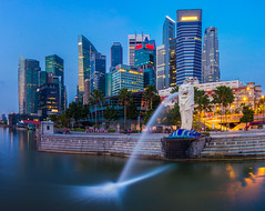 Merlion and Singapore city (anekphoto) Tags: singapore merlion lion night bay city marina landmark symbol business modern fountain architecture building scene asia cityscape hotel statue downtown tourism light water travel landscape sea park urban river famous financial skyline attraction district metropolis waterfront central sky tower sculpture outdoor icon outdoors tourist evening destination dusk skyscraper twilight background
