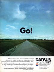1972 Datsun Go! Nissan Aussie Original Magazine Advertisement (Darren Marlow) Tags: 1 2 7 9 19 72 1972 d datsun n nissan a automobile c car v vehicle j jap japan japanese 70s