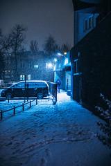 B L U (ewitsoe) Tags: snow city blue light night canon eos 6dii 50mm storm winter warsaw warszawa poland ochota ewitsoe evening
