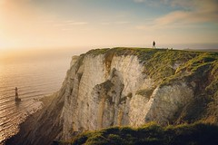 (Claire*Marsh) Tags: beachyhead eastsussex uk cliffs person walking sunset lighthouse chalk light green red landscape seascape