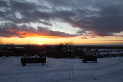 Bancs neige soleil (elodie.corion) Tags: snow neige winter hiver sunset soleil bancs