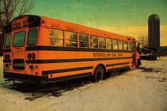 The End of the Line (Dave Linscheid) Tags: bus schoolbus butterfieldodinschool orange retired snow winter silo textured texture butterfield watonwancounty mn minnesota school memories picmonkey farm rural junkyard