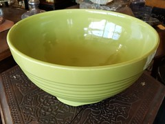 """MAJESTIC BAUER PUNCH BOWL, 14 INCHES, NO DAMAGE IN CHARTREUSE GLAZE.  $375. • <a style=""""font-size:0.8em;"""" href=""""http://www.flickr.com/photos/51721355@N02/39643733631/"""" target=""""_blank"""">View on Flickr</a>"""