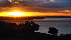 Sunset over San Remo (Ross Major) Tags: san remo victoria australia olympus boats ships sunset sea ocean western port bay