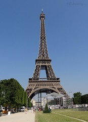 The Eiffel tower at the end of Champ de Mars