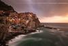 Manarola ( Liguria, Italy ) - Cinque Terre (Yannick Lefevre) Tags: italy italia liguria cinqueterre 5terre manarola unesco village sunset landscape seascape longexposure nikon nikkor1635mmf4 d700 hoya nd400 tripod manfrotto mare paysage sun sea light waves