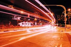 Moving Light (OzGFK) Tags: 35mm asia fuji hollandvillage nikkor nikon singapore velvia analog crossprocessed film night xpro lighttrails longexposure urban streetphotography