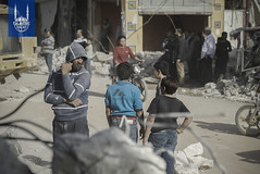 Destruction due to the recent violence in Ghouta, Syria.