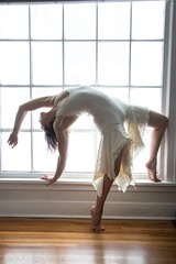 Kaeti (austinspace) Tags: woman portrait spokane washington model circus performer balance ballet artistic brunette reunion white dress natural light window sunshine