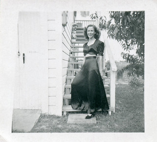 Woman in Long Dress at Staircase, 1940s