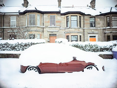 The beast from the east . (Nicolas Valentin) Tags: glasgow scotland car snow weather red cold