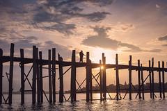 Amarapura, Myanmar (gstads) Tags: amarapura mandalay myanmar burma birma burmese bridge ubein silhouette monk lake sunrise sunset teak wood wooden