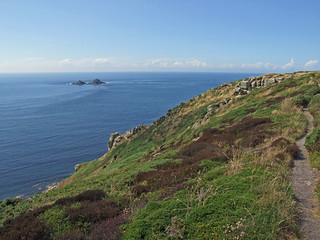 Carn Leskys, from clifftop track, overlooking coast path