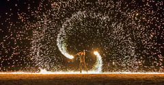 Human Firework (JChipchase) Tags: thailand kohsamui fireworks people performer beach night nikon d750