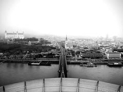 Bratislava (LG_92) Tags: bratislava pozsony slovakia castle church panorama bw blackandwhite 2018 january danube ufo bridge cityscape foggy river water