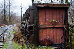 Inverted old train carriage on the railway. Destroyed the car. Georgia. The Republic Of Abkhazia. (ivan_volchek) Tags: railway georgia locomotive obsolete iron daylight travel rust rustic rusty outdoors abandoned old vintage wooden train wood abkhazia