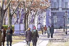 Plaza de Oriente (P.Barahona) Tags: paseantes plaza gente estatuas palacio árboles