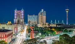 San Antonio Night Skyline - East View 2016 (Jim   jld3 photography) Tags: san antonio skyline cityscape urban night metro metropolitan long exposure blue hour jld3 nikon d810 50mm 14 panorama panoramic sanantonio texas alamocity sa300 300 tricentennial friendship freedom torch marriott rivercenter toweroftheamericas grand hyatt alamodome