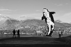 Whale Watching (cjimhow) Tags: vancouver bc canon cjimhow colinhowarth digitalorca jackpooleplaza blackwhite bw monochrome publicart sculpture