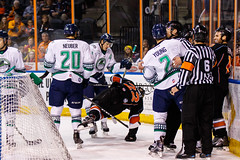 """Kansas City Mavericks vs. Florida Everblades, February 18, 2018, Silverstein Eye Centers Arena, Independence, Missouri.  Photo: © John Howe / Howe Creative Photography, all rights reserved 2018 • <a style=""""font-size:0.8em;"""" href=""""http://www.flickr.com/photos/134016632@N02/40387901781/"""" target=""""_blank"""">View on Flickr</a>"""