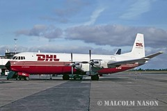 VICKERS V953C MERCHANTMAN G-APEM DHL AIR (shanairpic) Tags: propliner v953 vickersvanguard vickersmerchantman frieghter cargo frieght shannon dhl elan gapem