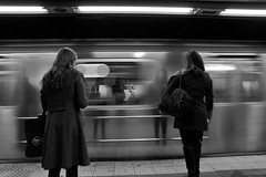 Ghosts of yesterday~ NYC (~mimo~) Tags: canon streetphotography people urban city blackandwhite movement reflection blur motion subway manhattan newyork nyc