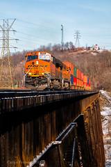 Oranges on the First Trestle (Wheelnrail) Tags: bnsf burlington northern santa fe train trains ge locomotive et44ac railroad rail road rails bridge cincinnati cinci cincy ludlow kentucky cnotp trestle winter