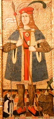 Altarpiece or Retable of a holy knight. Master of Girard or Gualba. Detail (rachelvess) Tags: 15001525 aragon spain mantle shoes bases hat helm museumofmontserrat heraldry